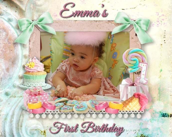 Baby's 1st Birthday, Birthday Portrait, Daughter's Birthday, Granddaughter Gift,
