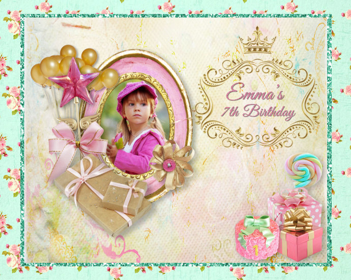 Baby's 1st Birthday, Birthday Portrait Keepsake, Gift for a Daughter,