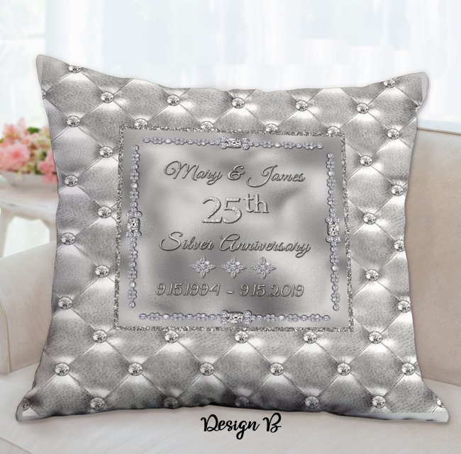 Silver Anniversary Pillows, 25th Anniversary Gifts for Parent, 25th Anniversary,
