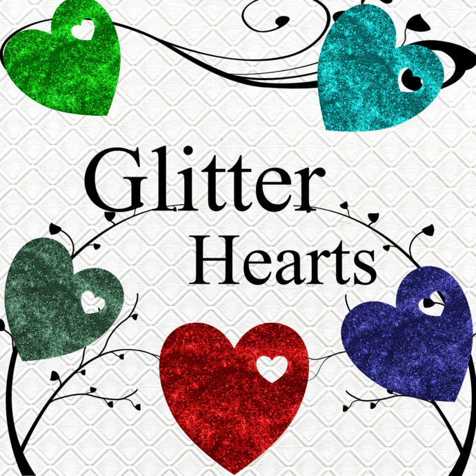 Glitter Hearts 6-Digital Clipart-Art Clip-Gift Cards-Banner-Gift Tag-Jewelry-T