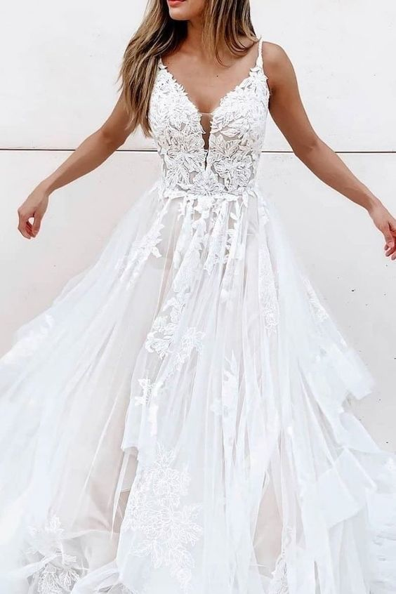 White A-line tulle lace long prom dress white lace long evening dress,prom dress