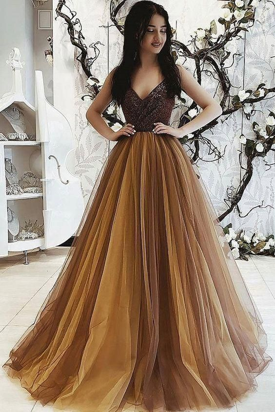 Romantic Tulle & Sequin Lace V-neck Neckline Floor-length A-line Eveing