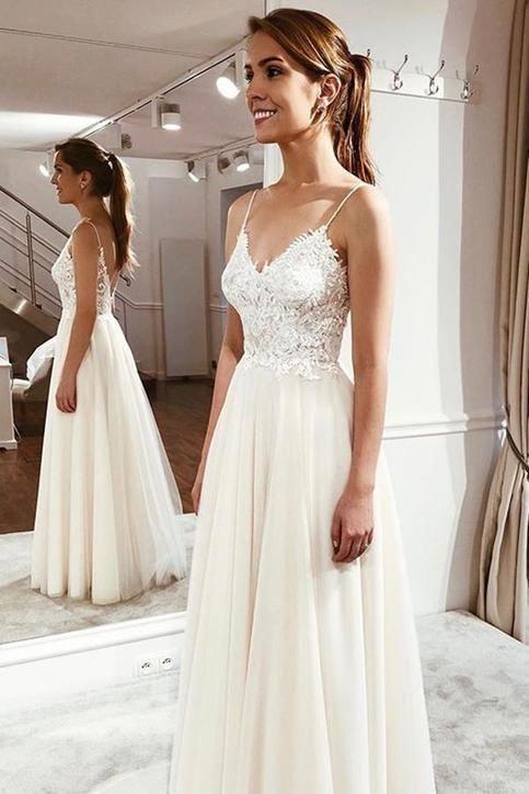 Elegant Spaghetti Straps Sleeveless Lace Appliques,prom dress