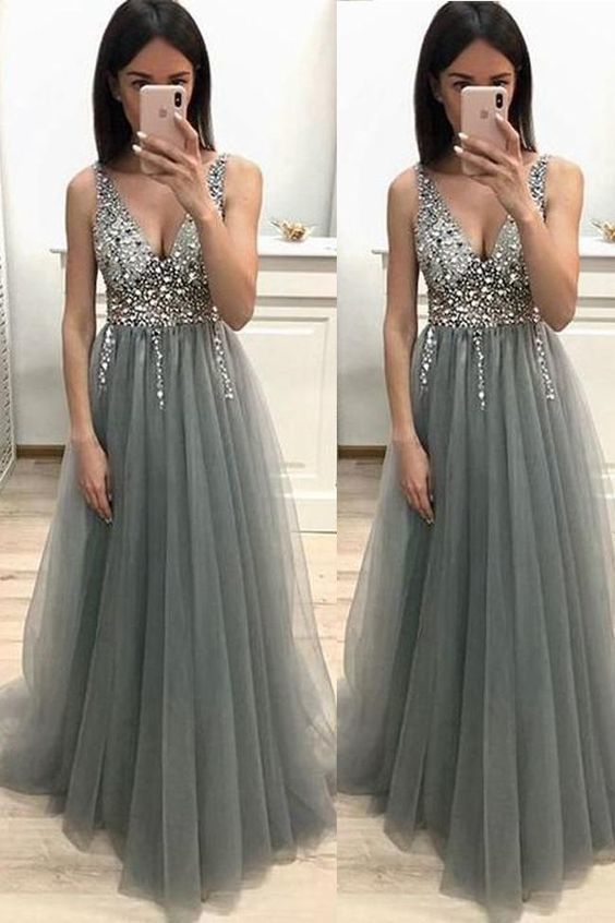Fashion A Line V Neck Bead Grey Tulle Backless Long Prom Dresses Formal Fancy
