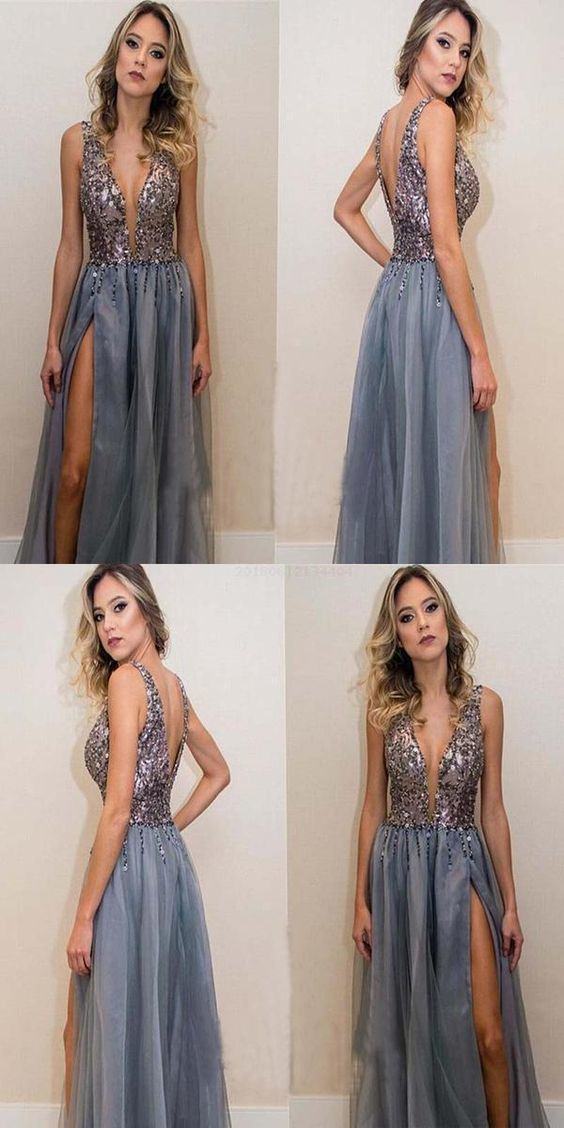 Hot Sale Admirable Long, Sexy, V-Neck,prom dress