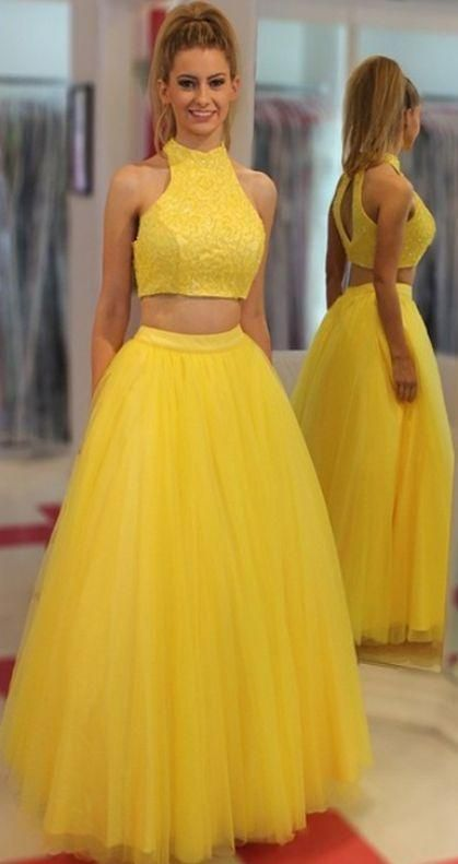 High Neck Prom Dresses, Yellow Long Prom Dresses, Yellow Two Pieces High