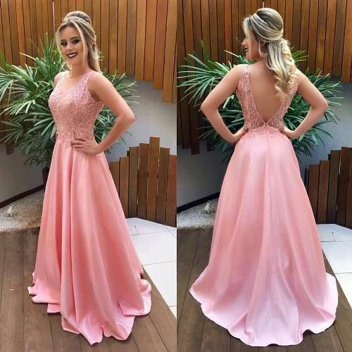 V Back Pink Prom Dress with Lace,prom dress