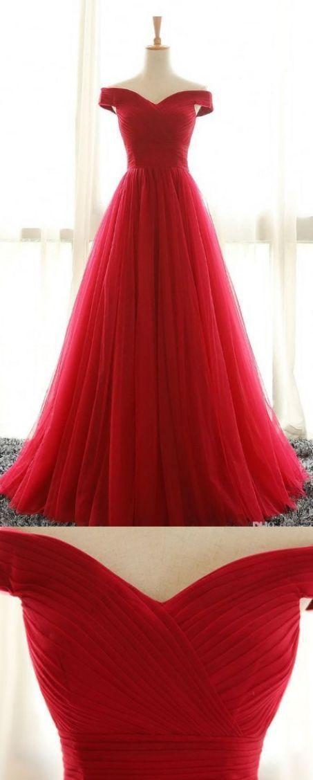 Red Prom Dresses, Long Prom Dresses, Sleeveless Prom Dresses, Pleated Prom