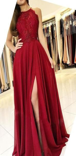 Halter Red Cheap Chiffon Custom Modest Party Long Lace Prom Dresses with