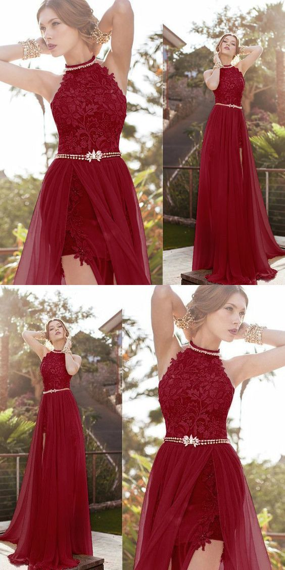 Hot Halter Lace Sexy burgundy prom dress
