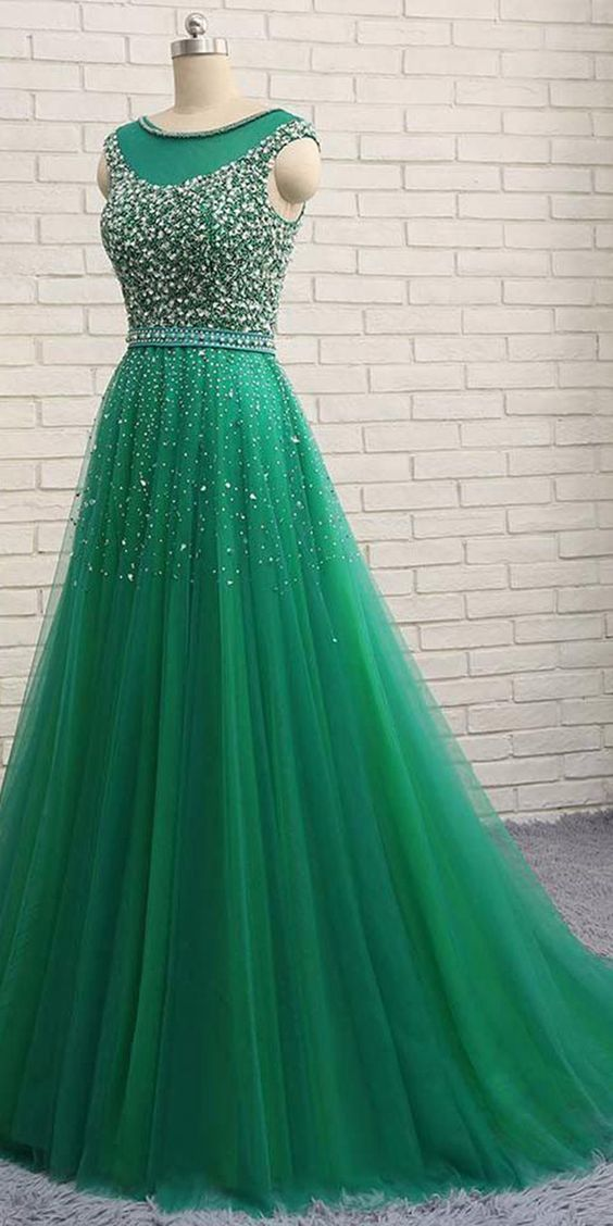 Shinning A Line Green Tulle Sequins Long Evening Dress Long Winter Formal Prom