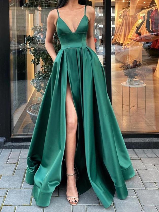 A Line V Neck Dark Green Long Prom Dresses with Leg Slit, High Slit Green Formal