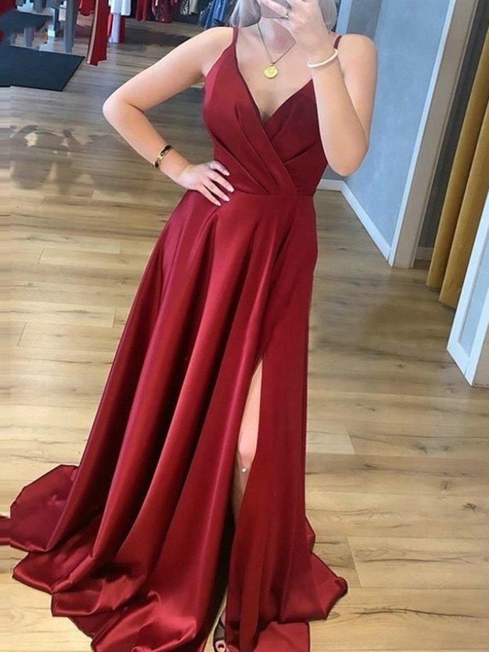 A Line V Neck Burgundy Satin Long Prom Dresses, Wine Red Satin Formal Evening