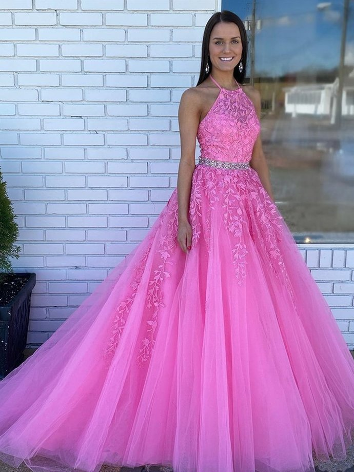Halter Neck Pink Lace Prom Dresses with Train, Pink Long Lace Formal Evening