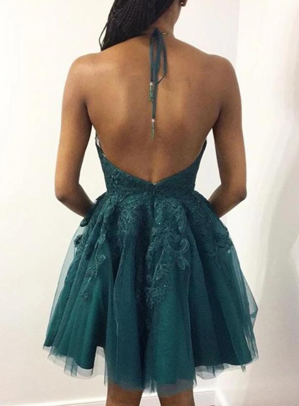 Halter Neck Short Emerald Green Lace Prom Dresses, Short Green Lace Graduation