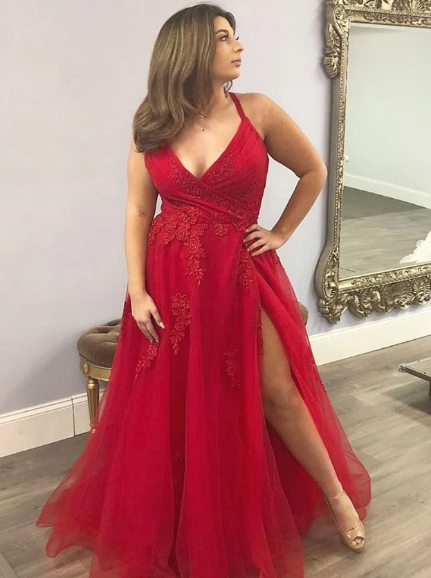 V Neck Red Lace Prom Dresses, Red Lace Formal Evening Dresses 2765