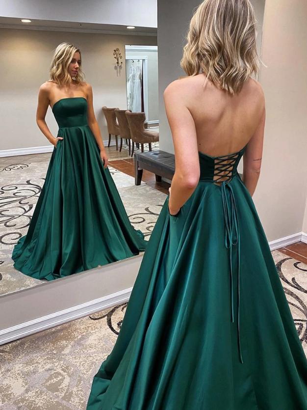 Strapless Emerald Green Long Prom Dresses, Emerald Green Long Formal Evening