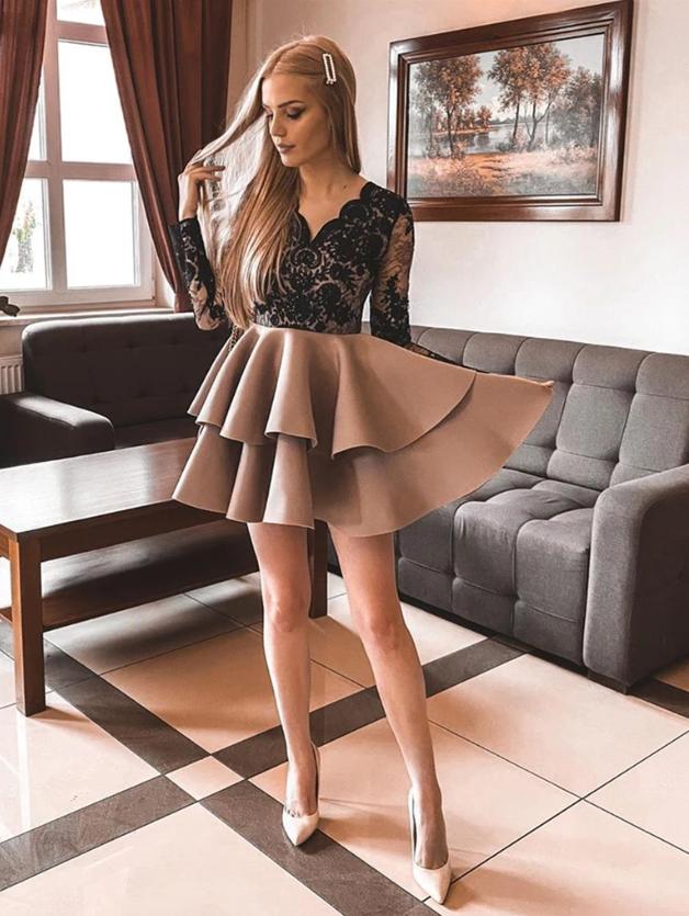 V Neck Long Sleeves Black Lace Prom Dresses, Short Champagne Graduation
