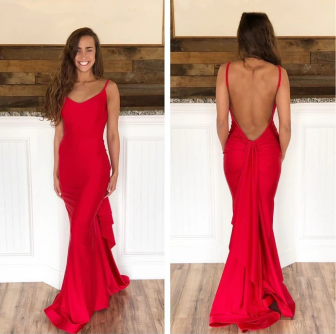 Red Mermaid Backless Long Prom Dresses, Red Mermaid Open Back Formal Evening