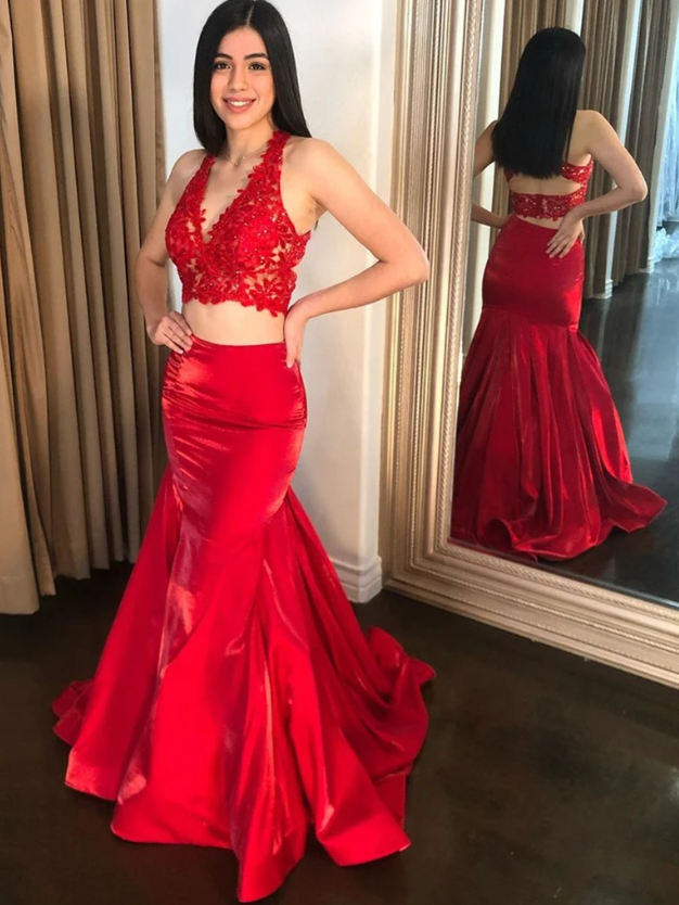 V Neck Red Mermaid Lace Prom Dresses, V Neck Red Mermaid Lace Formal Evening