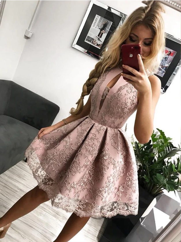 Round Neck Short Pink Lace Prom Dresses, Short Pink Lace Formal Homecoming
