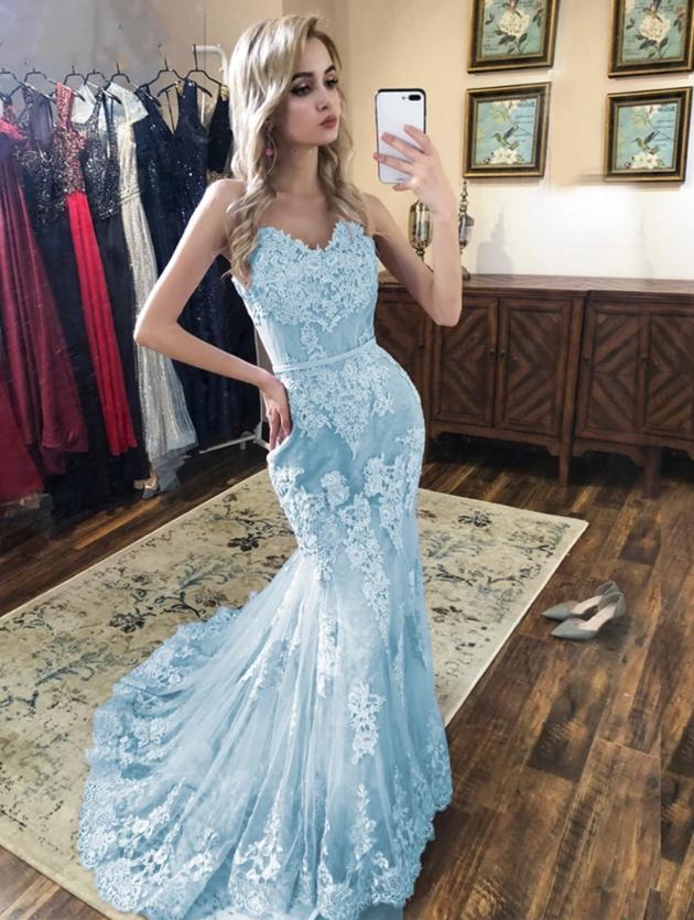 Spaghetti Straps Mermaid Blue Lace Prom Dresses, Mermaid Blue Lace Formal