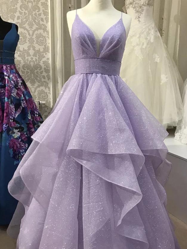 Shiny V Neck Purple Prom Dresses, Shiny V Neck Purple Formal Graduation Evening