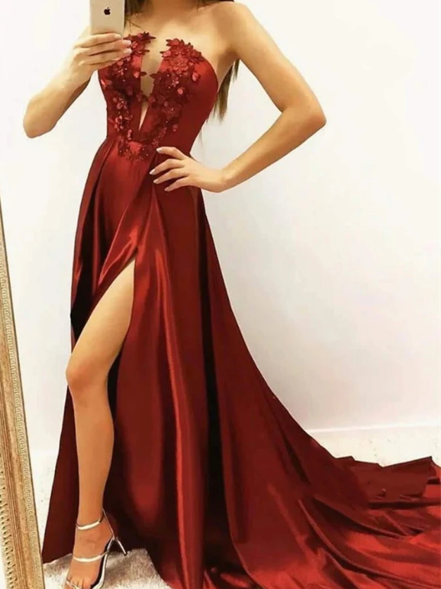 Strapless Appliques Burgundy Satin Prom Dress with High Slit, Wine Red Satin