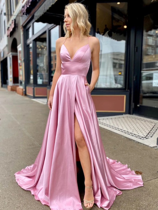A Line V Neck Pink Backless Long Prom Dress, Pink Open Back Fomal Graduation