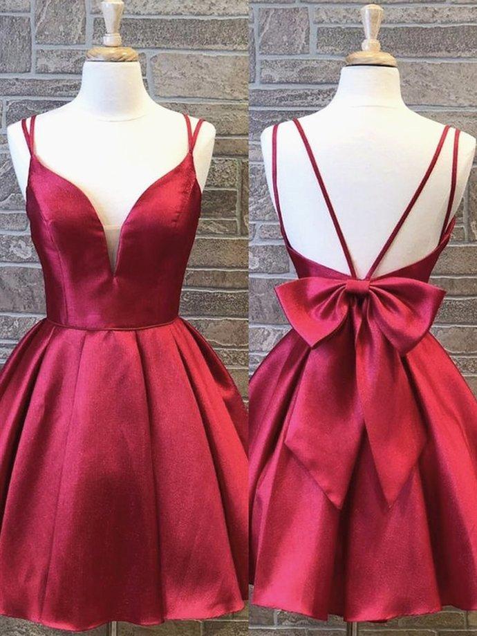 A Line V Neck Short Burgundy Prom Dresses, Short Burgundy Formal Homecoming