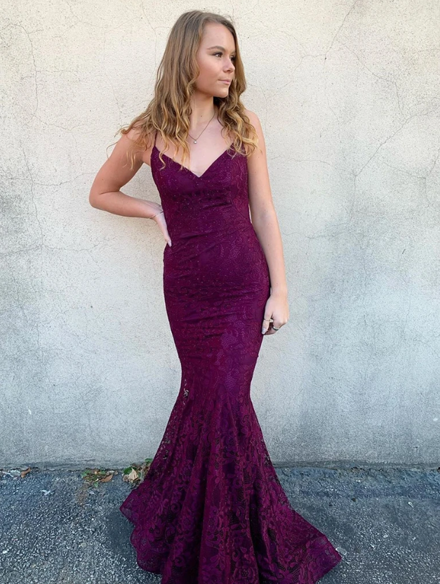 V Neck Backless Mermaid Purple Lace Prom Dresses, Backless Purple Lace Mermaid