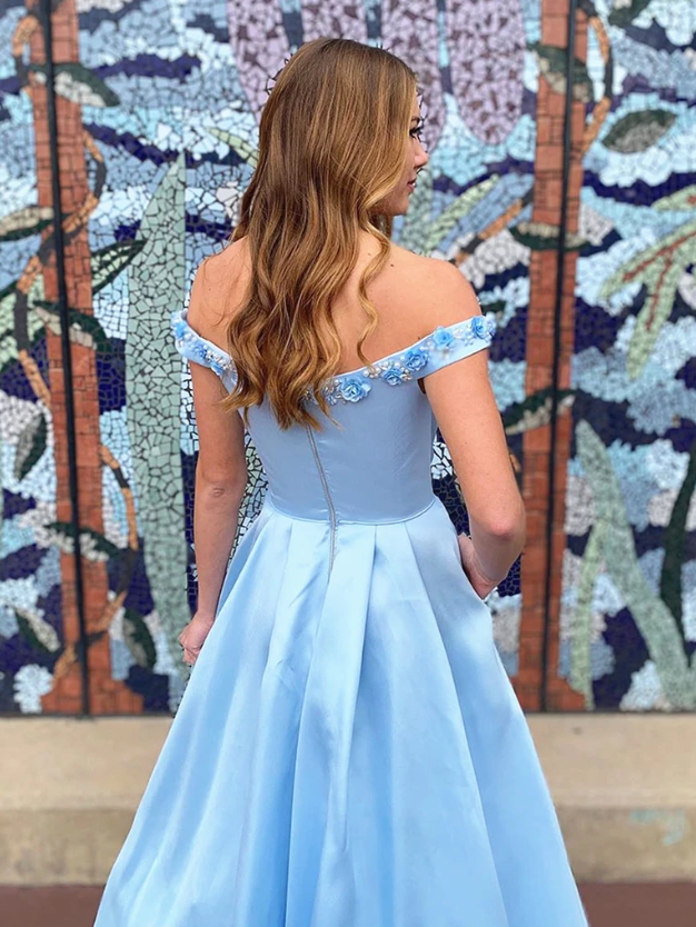 Off the Shoulder Blue 3D Flower Long Prom Dresses, Blue Off Shoulder 3D Flower