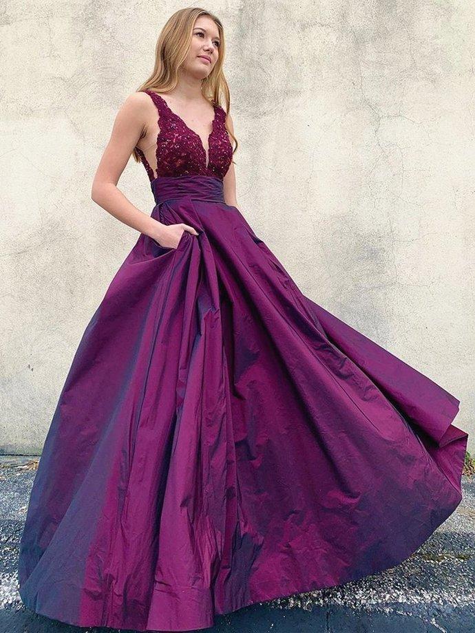 V Neck Backless Purple Lace Prom Dresses, V Neck Open Back Purple Lace Formal