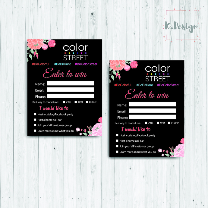 Personalized Enter to win Color Street, Color Street Lead Sheets, Nail Polish