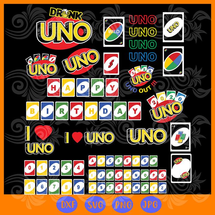 UNO BUNDLE Drunk, uno Bundle svg, uno card svg, uno svg, Uno svg birthday, Uno,