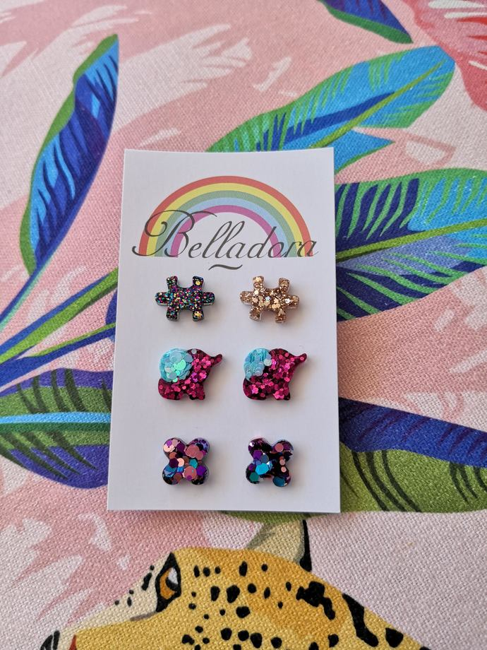 Stud Pack - Puzzle, Elephant and Crosses