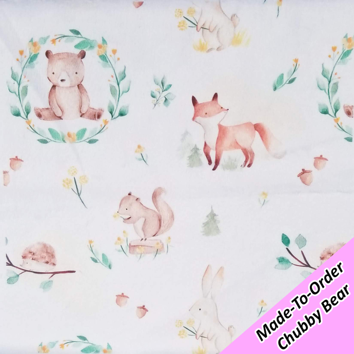 MADE-TO-ORDER CHUBBY BEAR: Delicate Woodland Creatures Deluxe Minky (PREORDER