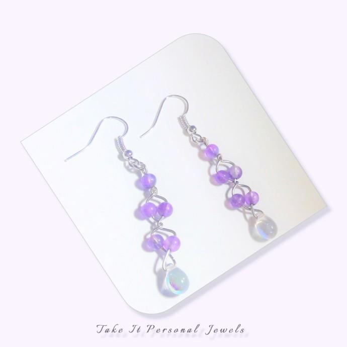 Amethyst Ladder Earrings Handmade Sterling Silver Wirework jewelry