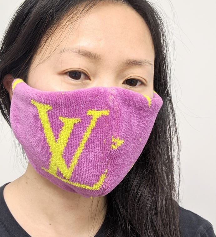 Customized altered limited edition lilac LV mask - LV lilac mask - Louis Vuitton