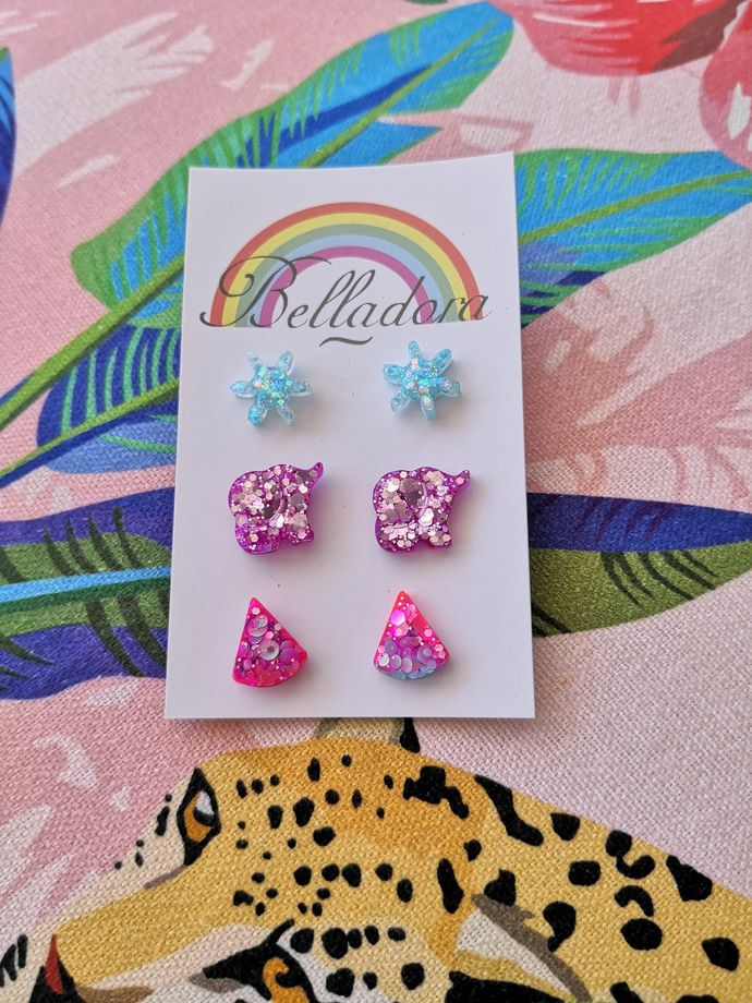 Stud Pack - Snowflakes, Elephants and Triangles