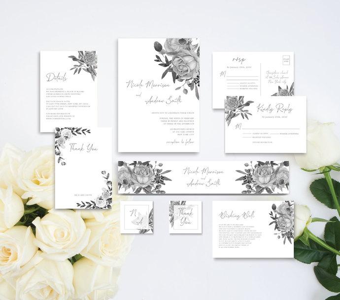 B&W Rose Wedding Template, Printable Wedding Invitation Set, 06