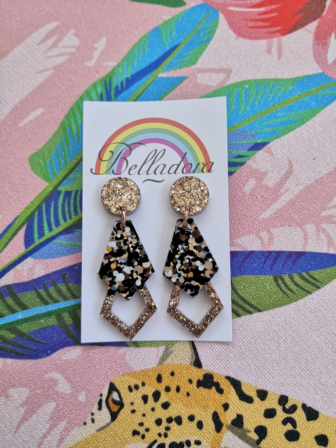 Glamour Dangle - Leopard and Gold