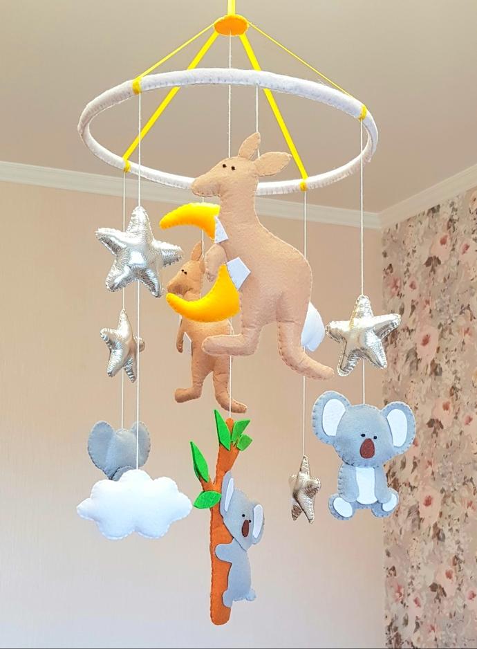 Austrlia animals nursery baby crib mobile decor Koala kangaroo eucalyptus tree