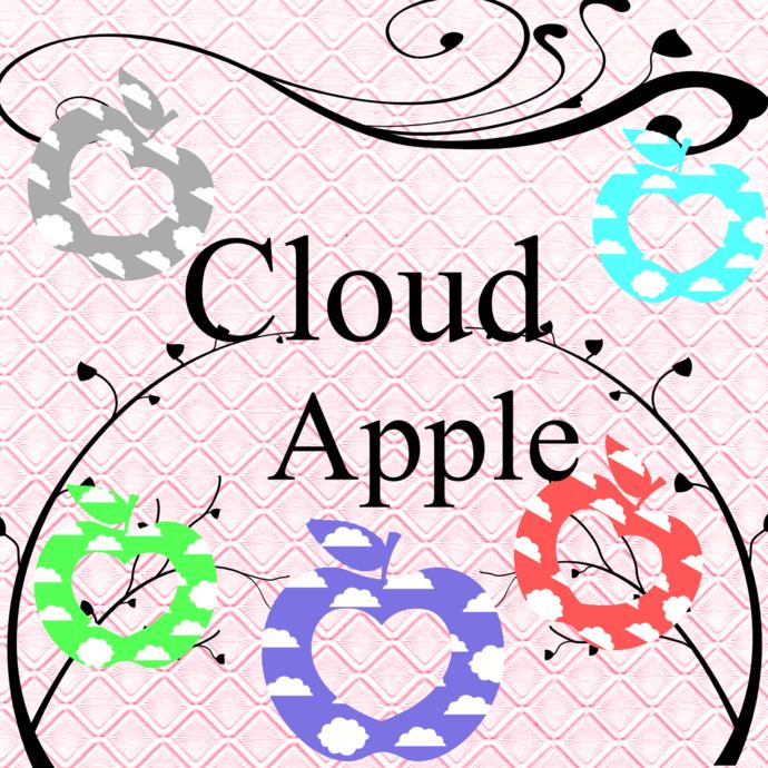 Color Cloud Apple 1-Digital Clipart-Art Clip-Gift Cards-Banner-Gift
