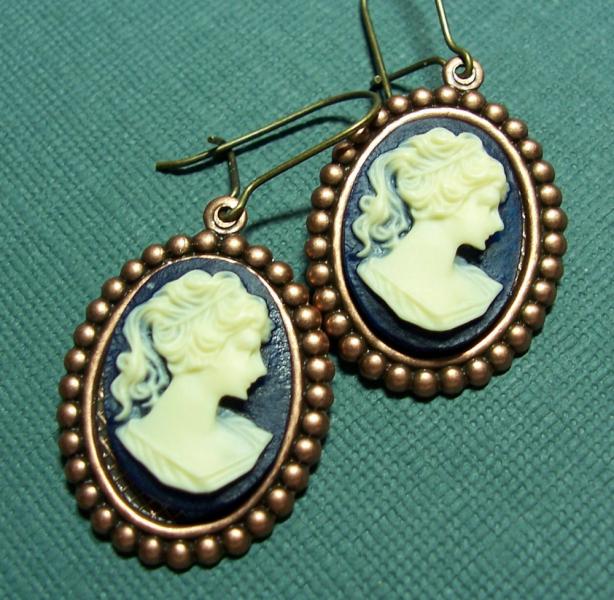 Cameos on Copper Findings Earrings