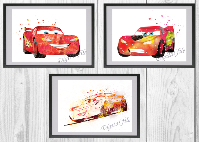 Cars Set , Lightning McQueen, Mater, Flo, Disney Pixar, Cars print, poster,