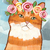 Spring Portrait Ginger Tabby Original Cat Folk Art Painting