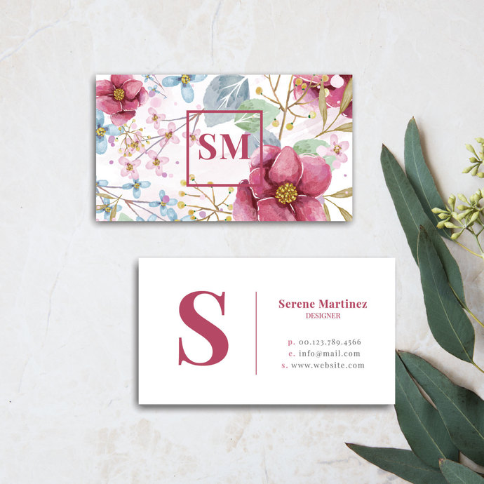 Premade business card, Personalized Floral business card BC07