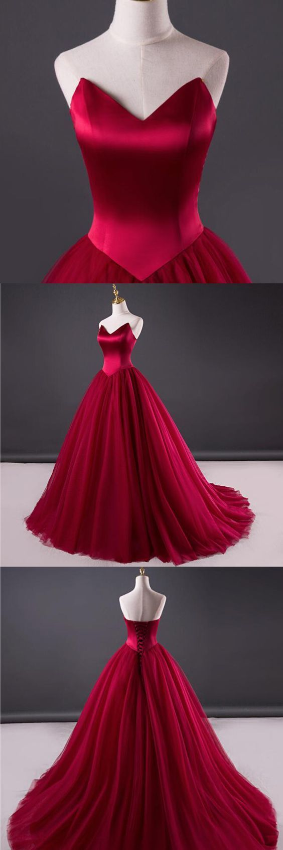 Wine Red Beautiful Sweet 16 Gown, Charming Tulle and Satin Prom Dress