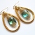 Gold and Green Teardrop Earrings Wirewrapped
